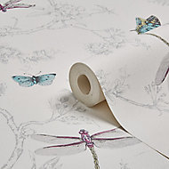 Contour White Nature trail Silver effect Textured Wallpaper