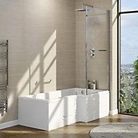 Cooke & Lewis Acrylic Left-handed L-shaped Walk-in Shower Bath (L)1700mm (W)850mm
