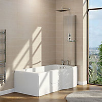 Cooke & Lewis Acrylic Left-handed P-shaped Walk-in Shower Bath (L)1675mm (W)850mm