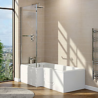Cooke & Lewis Acrylic Right-handed L-shaped Walk-in Shower Bath (L)1700mm (W)850mm