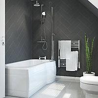 Cooke & Lewis Adelphi Acrylic Left-handed P-shaped Shower Bath (L)1675mm (W)850mm