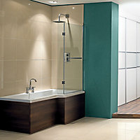 Cooke & Lewis Adelphi Acrylic Right-handed L-shaped Shower Bath (L)1675mm (W)850mm
