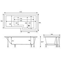 Cooke & Lewis Adelphi L-shaped Shower Bath, panel & screen set, (L)1675mm (W)850mm