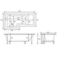 Cooke & Lewis Adelphi Left-handed L-shaped Shower Bath, panel & screen set, (L)1675mm (W)850mm