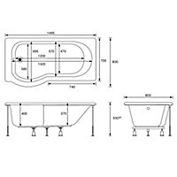 Cooke & Lewis Adelphi P-shaped Shower Bath, panel & screen set, (L)1500mm (W)800mm