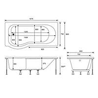 Cooke & Lewis Adelphi P-shaped Shower Bath, panel & screen set, (L)1675mm (W)850mm