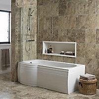 Cooke & Lewis Adelphi Supercast acrylic Left-handed P-shaped Shower Bath (L)1675mm (W)850mm