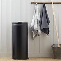 Cooke & Lewis Allium Black Round Freestanding Kitchen Bin, 30L