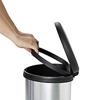 Cooke & Lewis Amphora Brushed Plastic D-shaped Freestanding Kitchen Bin, 40L