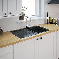 Cooke & Lewis Arber Black Composite quartz 1 Bowl Sink & drainer