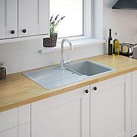 Cooke & Lewis Arber White Composite quartz 1 Bowl Sink & drainer