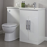 Cooke & Lewis Ardesio Gloss White Right-handed Vanity & toilet unit