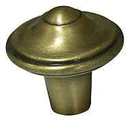Cooke & Lewis Brass effect Zinc alloy Round Fleur de lys Furniture Knob (Dia)30.5mm