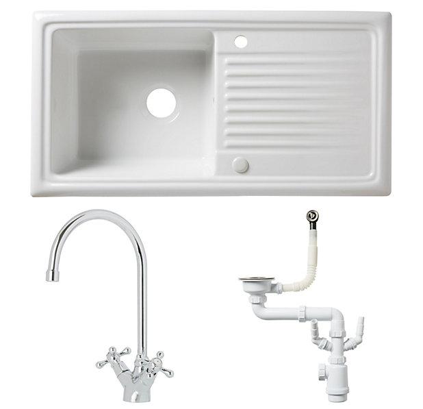 Cooke Lewis Burbank White Ceramic 1 Bowl Sink Tap Waste Kit Diy At B Q