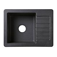 Cooke & Lewis Burnell Black Composite quartz 1 Bowl Sink & drainer