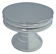 Cooke & Lewis Chrome effect Zinc alloy Round Furniture Knob (Dia)30mm