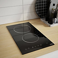 Cooke & Lewis CLCER30A 2 Zone Black Glass Ceramic Hob, (W)290mm