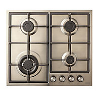 Cooke & Lewis CLGASUIT4 4 Burner Inox Stainless steel Gas Hob, (W)580mm