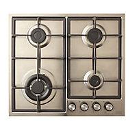 Cooke & Lewis CLGASUIT4 4 Burner Inox Stainless steel Hob, (W)580mm