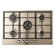 Cooke & Lewis CLGASUIT5 5 Burner Inox Stainless steel Gas Hob, (W)750mm