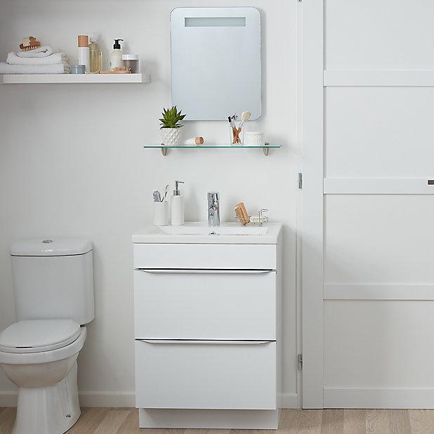 Cooke Lewis Colwell Rectangular Illuminated Frameless Bathroom Mirror H 500mm W 400mm Diy At B Q
