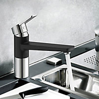 Cooke & Lewis Fontes Black Kitchen Top lever Tap