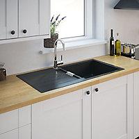 Cooke & Lewis Galvani Grey Composite quartz 1 Bowl Sink & drainer