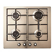 Cooke & Lewis GASUIT4 4 Burner Inox Stainless steel Gas Hob, (W)580mm