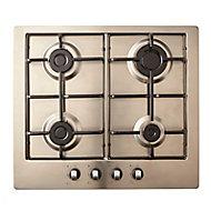 Cooke & Lewis GASUIT4 4 Burner Inox Stainless steel Hob, (W)580mm