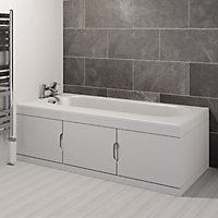 Cooke & Lewis Gloss White Right-handed Straight Bath storage unit & end panel kit
