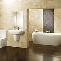 Cooke & Lewis Helena Acrylic Oval 12 Curved Bath, panel & air spa set, (L)1700mm (W)800mm