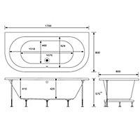 Cooke & Lewis Helena Supercast acrylic Curved Bath & panel set, (L)1700mm (W)800mm
