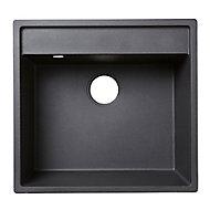 Cooke & Lewis Hirase Black Composite quartz 1 Bowl Sink