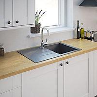 Cooke & Lewis Ising Polished Grey Resin 1 Bowl Sink & drainer