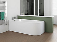 Cooke & Lewis J-Curved Acrylic Right-handed Curved Bath (L)1695mm (W)745mm