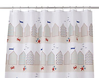 Cooke & Lewis Lago Multicolour Beach hut Shower curtain (L)1800mm