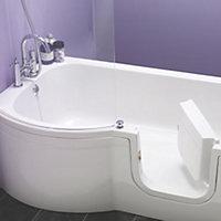 cooke & lewis leonato lh acrylic p shaped shower bath (l