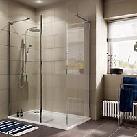 Cooke & Lewis Luxuriant Rectangular Shower enclosure with Walk-in entry (W)1400mm (D)900mm