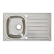 Cooke & Lewis Nakaya Polished Inox Stainless steel 1 Bowl Sink & drainer