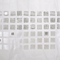 Cooke & Lewis Nakina White & Silver Mosaic Shower curtain (L)1800mm