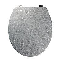 Cooke & Lewis Nosara Silver Glitter effect Standard close Toilet seat