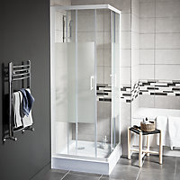 Cooke & Lewis Onega Square Frosted effect Shower Enclosure with Corner entry double sliding door (W)760mm (D)760mm