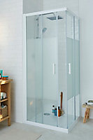 Cooke & Lewis Onega Square Frosted effect Shower Shower enclosure with Corner entry double sliding door (W)800mm (D)800mm