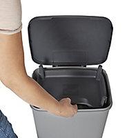 Cooke & Lewis Parvula Mid grey Plastic Rectangular Freestanding Kitchen bin, 40L