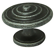 Cooke & Lewis Pewter effect Zinc alloy Round Cabinet Knob (Dia)35mm