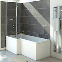 Cooke & Lewis Solarna L-shaped 1 Panel Bath screen, (W)825mm
