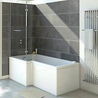 Cooke & Lewis Solarna L-shaped Bath screen, (W)825mm