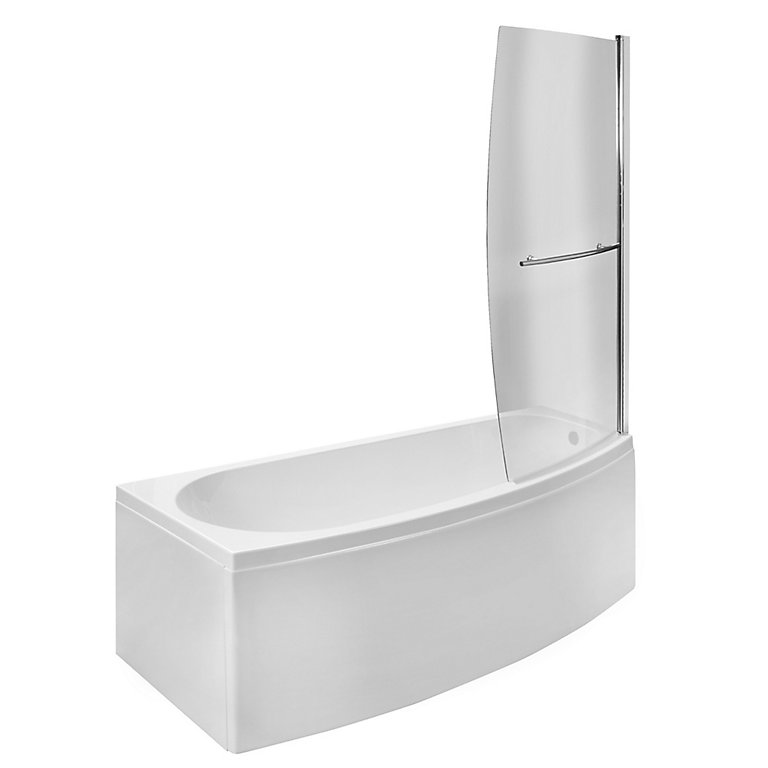 cooke  lewis spacesaver curved 1 panel bath screen w