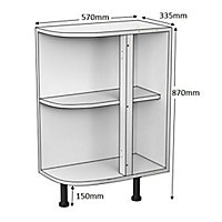 Cooke & Lewis White Curved end Base cabinet, (W)335mm