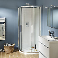 Cooke & Lewis Zilia Quadrant Clear Shower Enclosure with Corner entry double sliding door (W)900mm